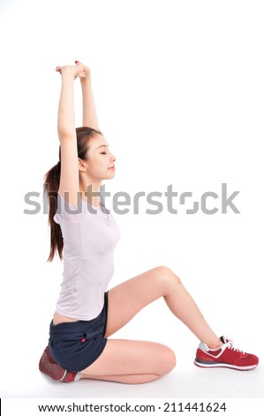 Sport girl of Asian doing stretch exercise,  portrait isolated on white background.