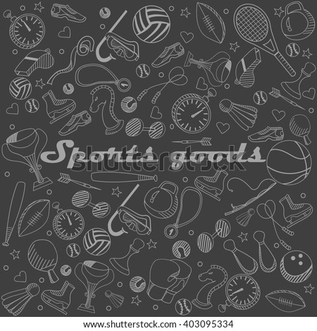 Sport goods chalk line art design raster illustration. Separate objects. Hand drawn doodle design elements.