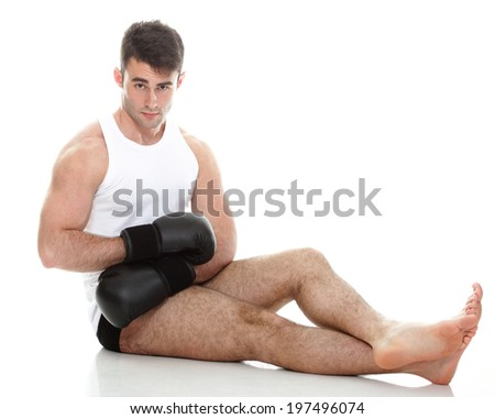 Sport health studio picture from a young boxer isolated on white - stock photo
