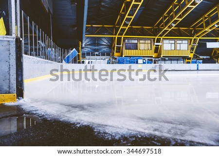 Sport ice hall. Empty ice hall for skating. - stock photo