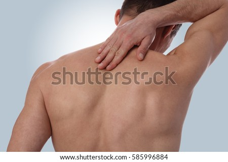 Sport injury, Man with back pain. Pain relief concept.