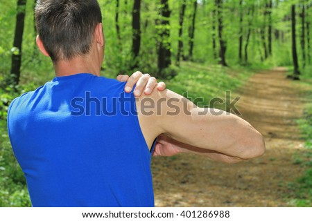 Sport injury, Man with shoulder pain