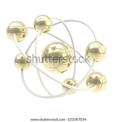 Sport is science: basketball molecule made of golden balls isolated on white - stock photo