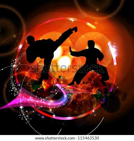 Sport karate illustration - stock photo