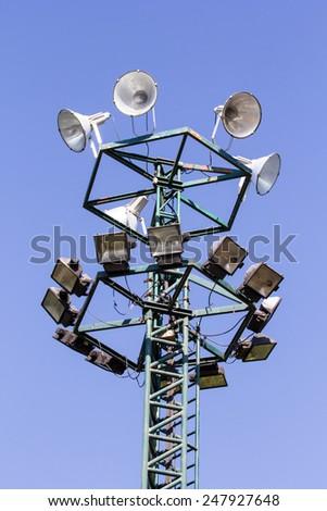 sport light : Light stadium sports lighting against on blue sky - stock photo
