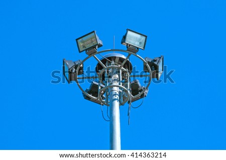 sport light post on beautiful sky background