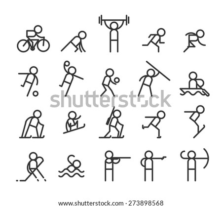 Sport line icons. Modern style. Jogging and weightlifting, barbell and strength, stayer and sprint - stock photo