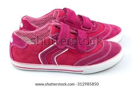 Sport magenta shoes for woman isolated on white background - stock photo