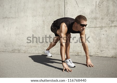 sport man on cement background - stock photo