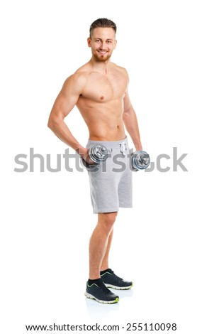 Sport man with dumbbells on the white background - stock photo