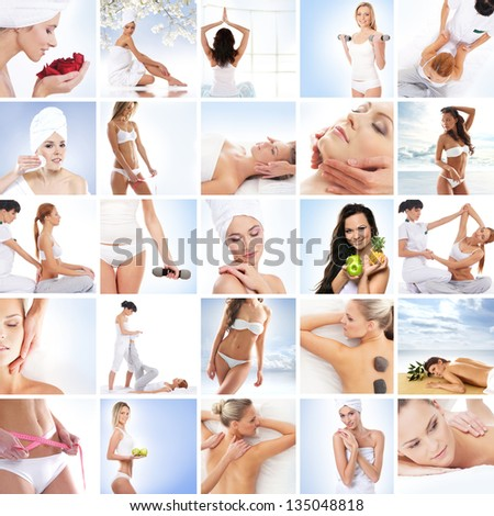 Sport, massaging, fitness and healthy eating collage - stock photo