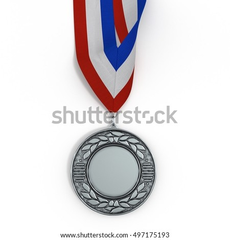 Sport medal from silver on white. 3D illustration