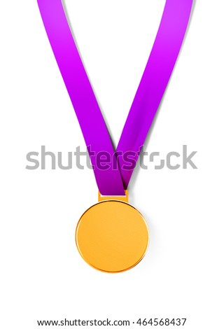 sport medal on white background with path