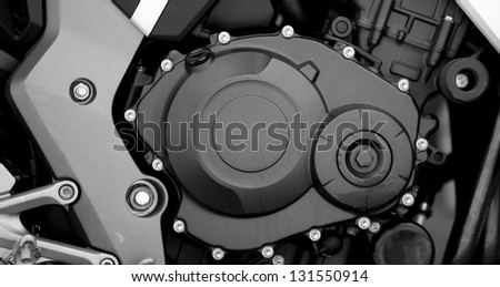 Sport motorcycle engine close-up detail background - stock photo