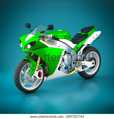 Sport motorcycle on a blue background - stock photo