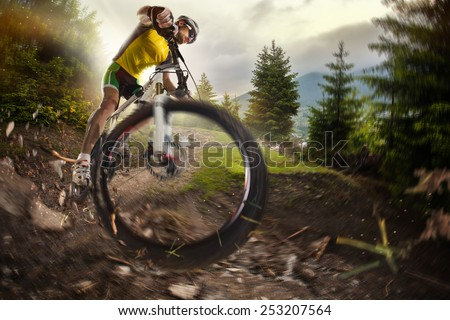Sport. Mountain Bike cyclist riding single track  - stock photo