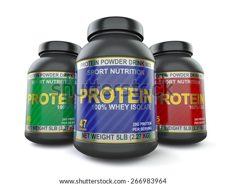 Sport nutrition and bodybuilding fitness supplements  concept - whey isolate, soy and egg protein jar cans isolated on white background, wide angle shot - stock photo