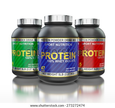 Sport nutrition, bodybuilding supplements, sport diet concept - whey isolate, soy and egg protein jar cans in line isolated on white background with reflection - stock photo