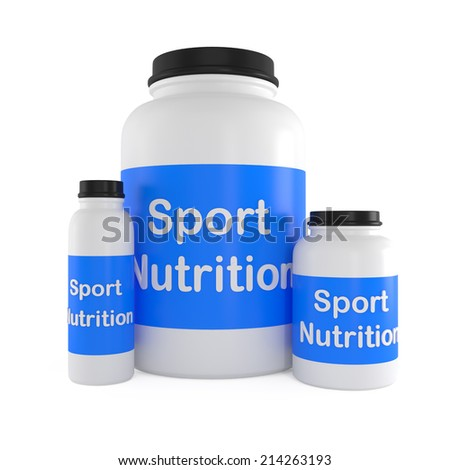 Sport Nutrition Supplement containers isolated on white - 3d illustration