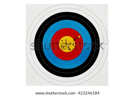 sport of archery, target arrows up, color image - stock photo