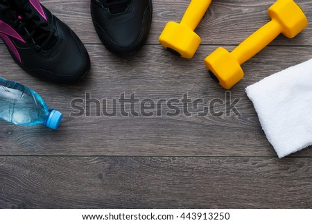 Sport. Outfit for exercises. Equipment for good training on wooden background