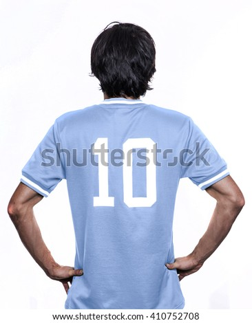 Sport player with the number ten on the back. sky blue jersey - stock photo