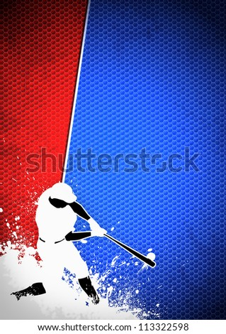 Sport poster: Baseball player background with space - stock photo