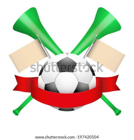 Sport Poster with Soccer Ball, ribbon and horn. Isolated on white background. Bitmap copy. - stock photo