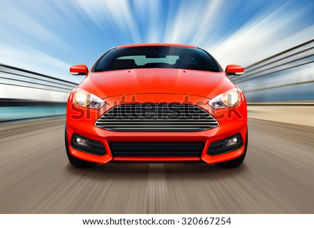 sport race car on speed track - motion blur - stock photo
