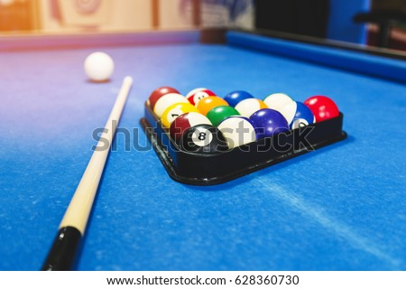 Sport, Recreation, Game, Competition   Playing Billiard. Billiards Balls An  Cue On