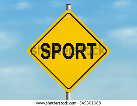 Sport. Road sign on the sky background. Raster illustration.