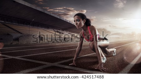 Sport. Runner on the start line - stock photo
