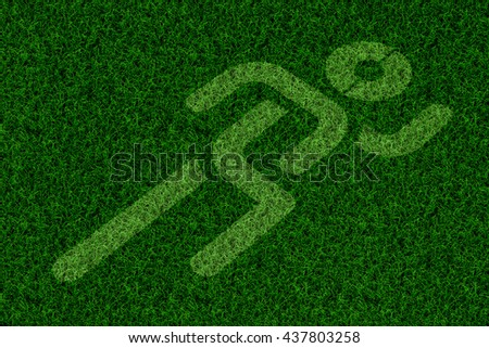 sport running sing on green grass for background, run icon on the ground, run way, running space.