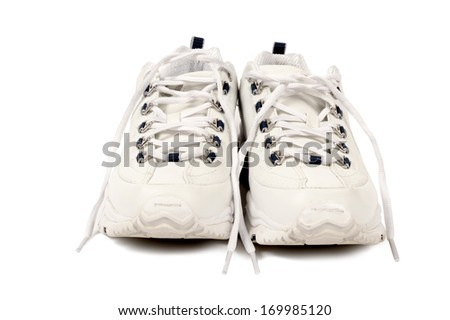 Sport Shoes Facing Forward With Shadows/ Shoes Ready For Exercise/ Isolated On White Background - stock photo