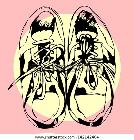 Sport shoes hand drawn sketch on pink. Raster version, editable vector file also available at my port. - stock photo