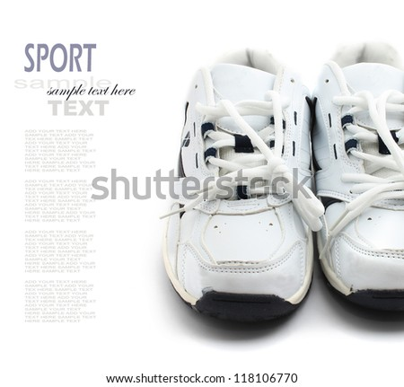 Sport shoes pair on a white background - stock photo
