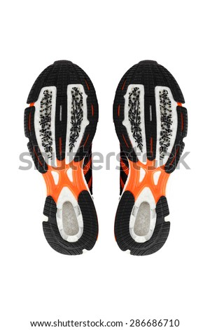 Sport shoes sole,footprint, isolate on white - stock photo