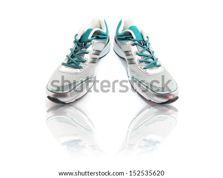 Sport Shoes with reflection isolated on white - stock photo