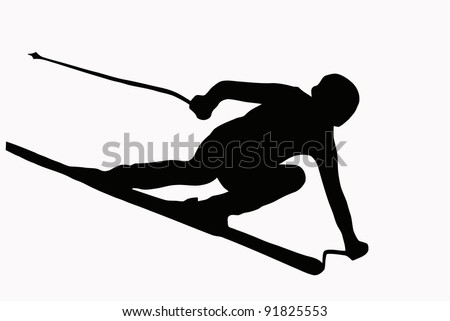 Sport Silhouette - Skier speeding down slope