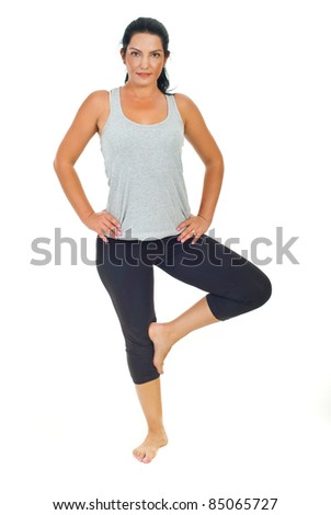 Sport  smiling  woman exercising over white background