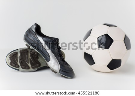 sport, soccer, football and sports equipment concept - close up of ball and boots