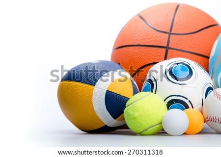 Sport. Sports balls on white background - stock photo