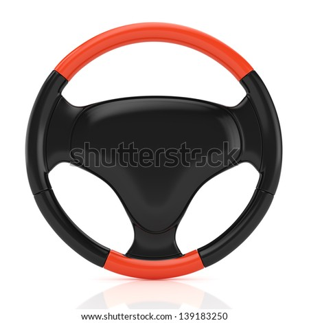sport steering wheel isolated on white. 3d rendered image
