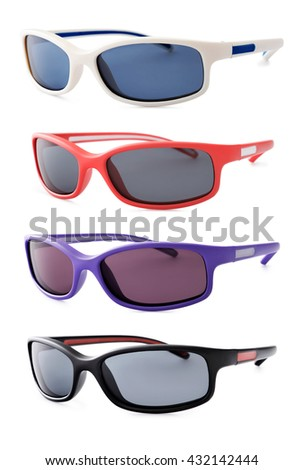sport sunglasses isolated on white background, in various colors
