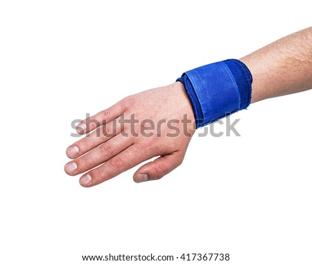 Sport sweatband template wear on wrist arm. Sports support protective bandage wrap. Grips, Wristbands, Close-up, Man Wearing Orthopedic Wrist in Studio with White Background and Copy Space