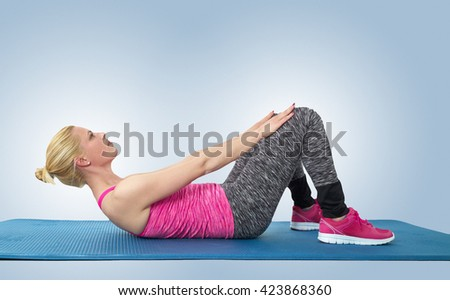 Sport teen woman exercise with mat. Isolated on a white background. Studio shot - stock photo
