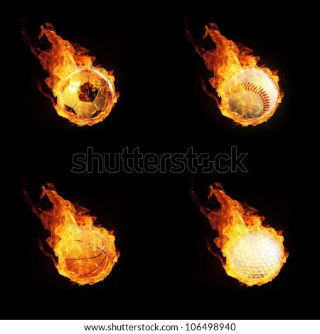 Sport Themes on Fire or burning Sport Themes 3D on black - stock photo