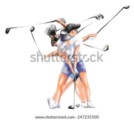 """Sport topic: GOLFER (Complex """"Matrix"""" golf motion of hit the golf ball). An hand painted (Digital painting) full sized hand drawn illustration of an young woman playing the golf. - stock photo"""