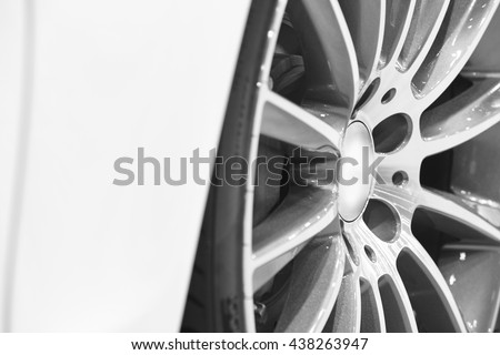 Sport vehicle alloy wheels detail. car parts. Horizontal