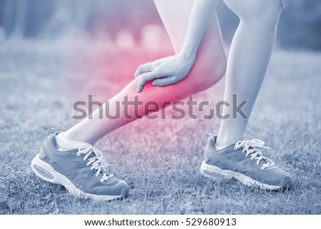 sport woman hurt leg in park, great for your design